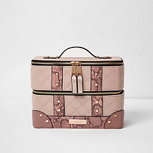 Light pink RI embossed snake vanity case