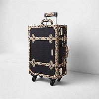 Zwarte koffer met RI-logo, reliëf en slangenprint