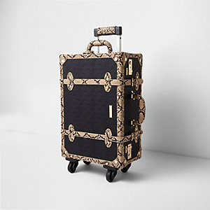 Black RI embossed snake trim trunk suitcase