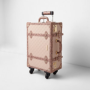Pink RI embossed snakeskin trunk suitcase