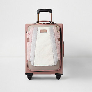 Beige faux fur front four wheel suitcase