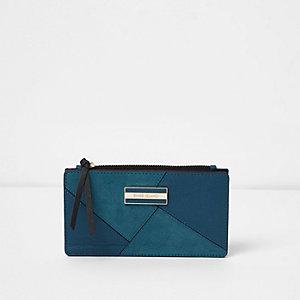 Turquoiseblauwe uitvouwbare smalle portemonnee met uitsnedes