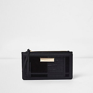 Black croc panelled slim foldout purse