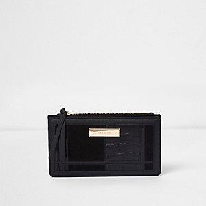 Black croc panelled slim foldout purse
