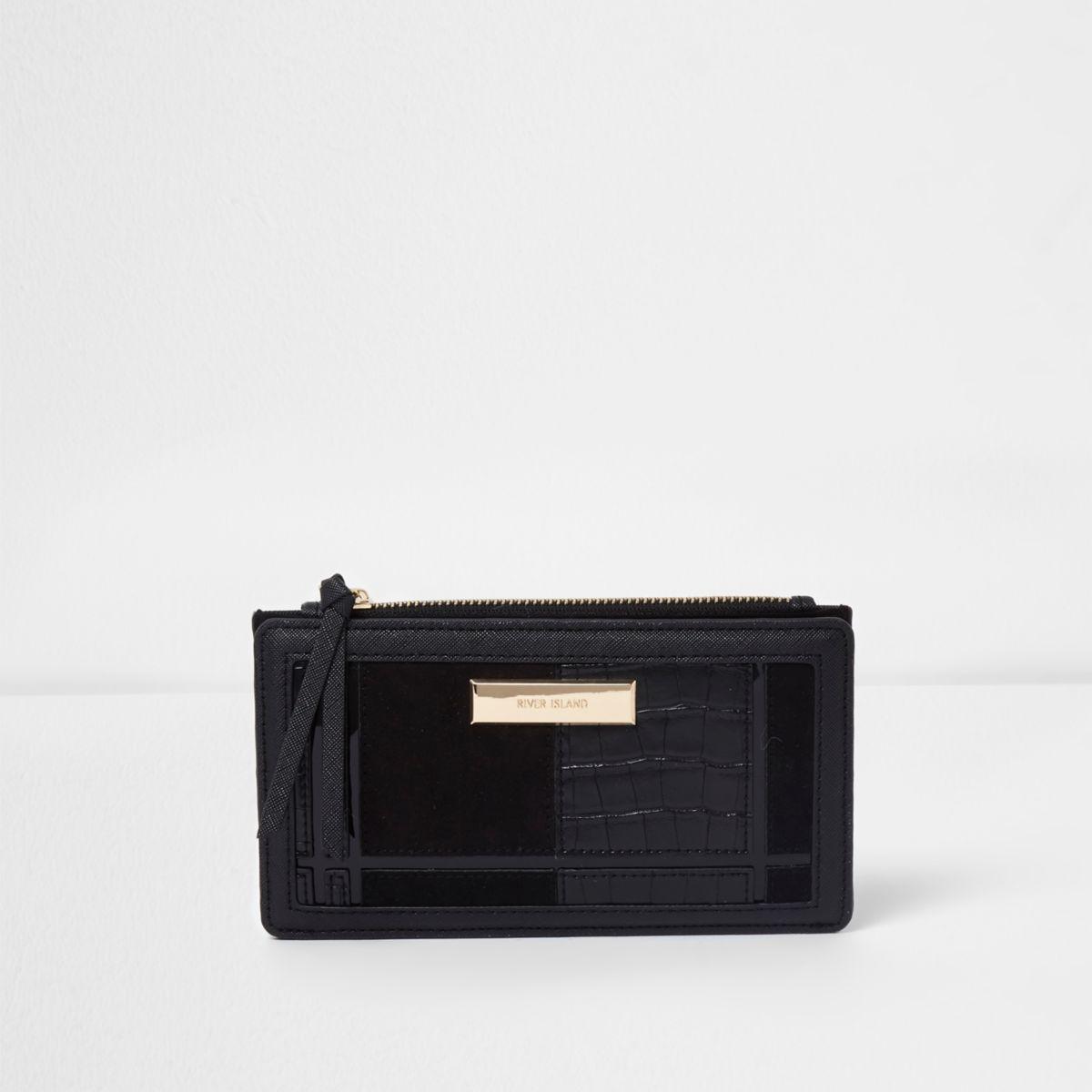 Zwarte uitvouwbare portemonnee met krokodillenprint