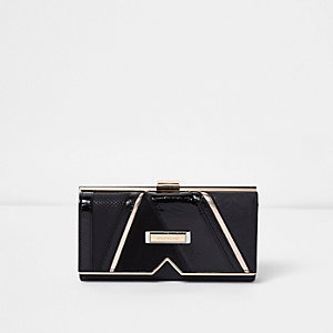 Black panelled V insert clip top purse