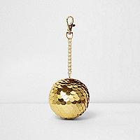 Porte-clés à boule disco à sequins dorés