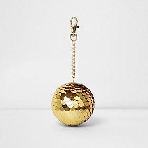 Goudkleurige sleutelhanger met pailletten en discobal