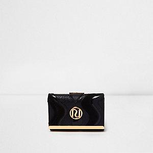 Zwarte kleine portemonnee met druksluiting en panelen