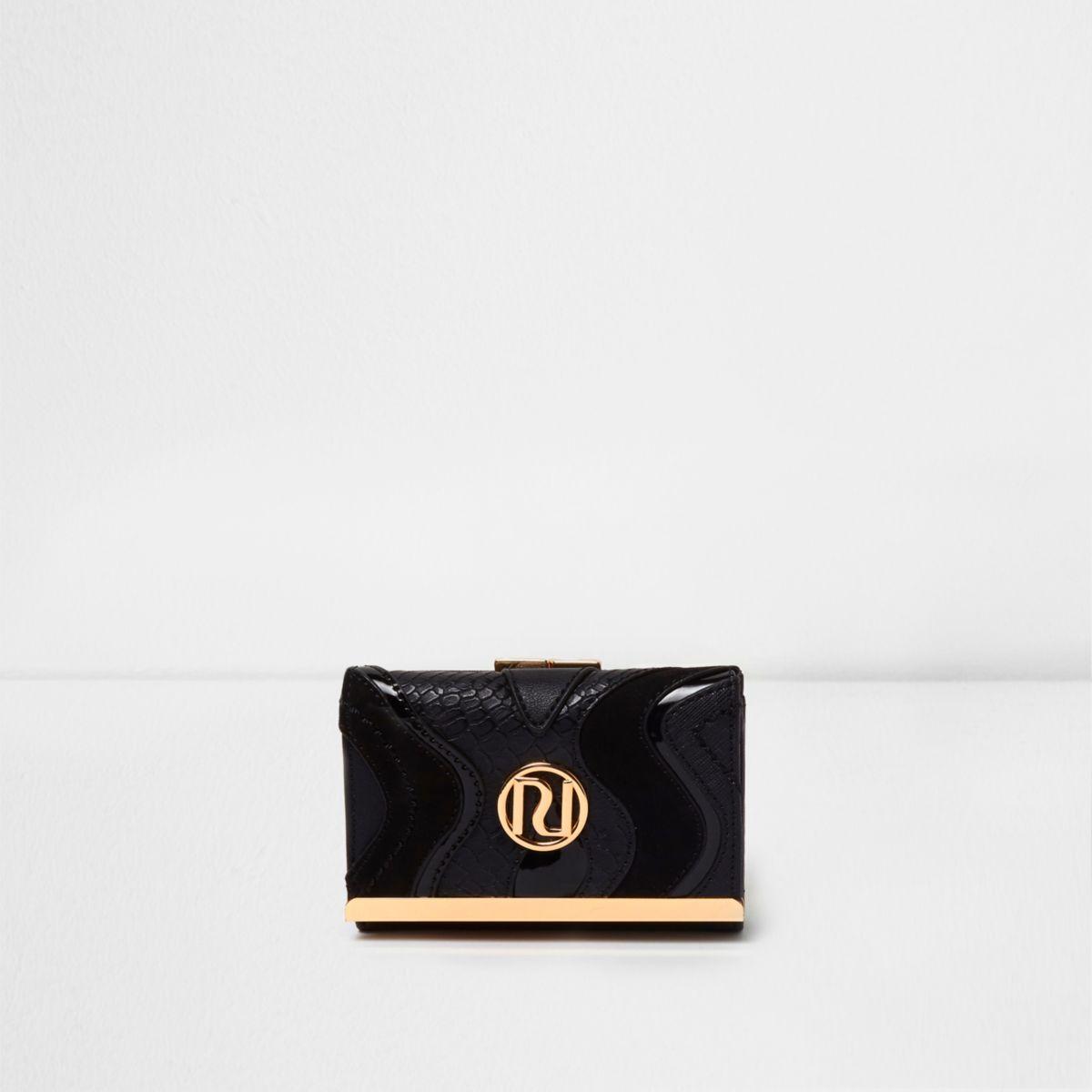 Mini porte-monnaie noir avec empiècements à découpes et fermoir clip