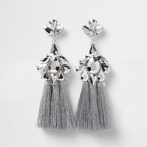 Silver tone jewel tassel drop earrings
