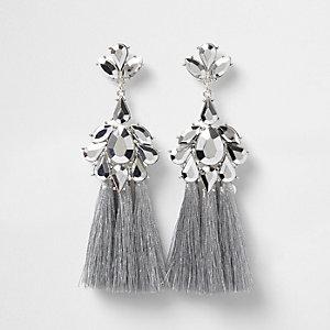 Silver tone jewel tassel drop earrings