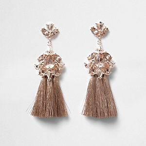 Rose gold tone jewel tassel drop earrings