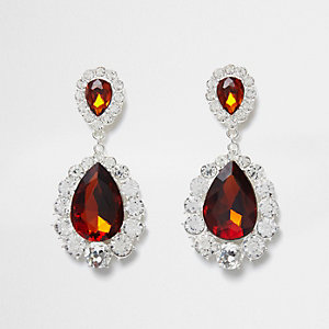 Orange teardrop jewel drop earrings