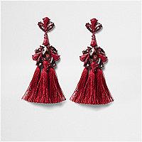 Dark red jewel tassel drop earrings
