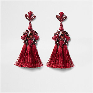 Dark red jewel tassel drop earrings
