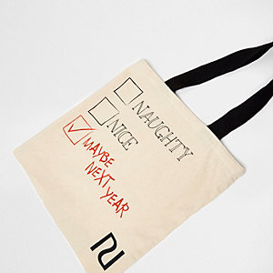 Cream 'naughty nice' print canvas shopper bag