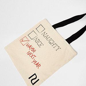 "Bedruckte Shopper-Tasche in Creme ""naughty nice"""