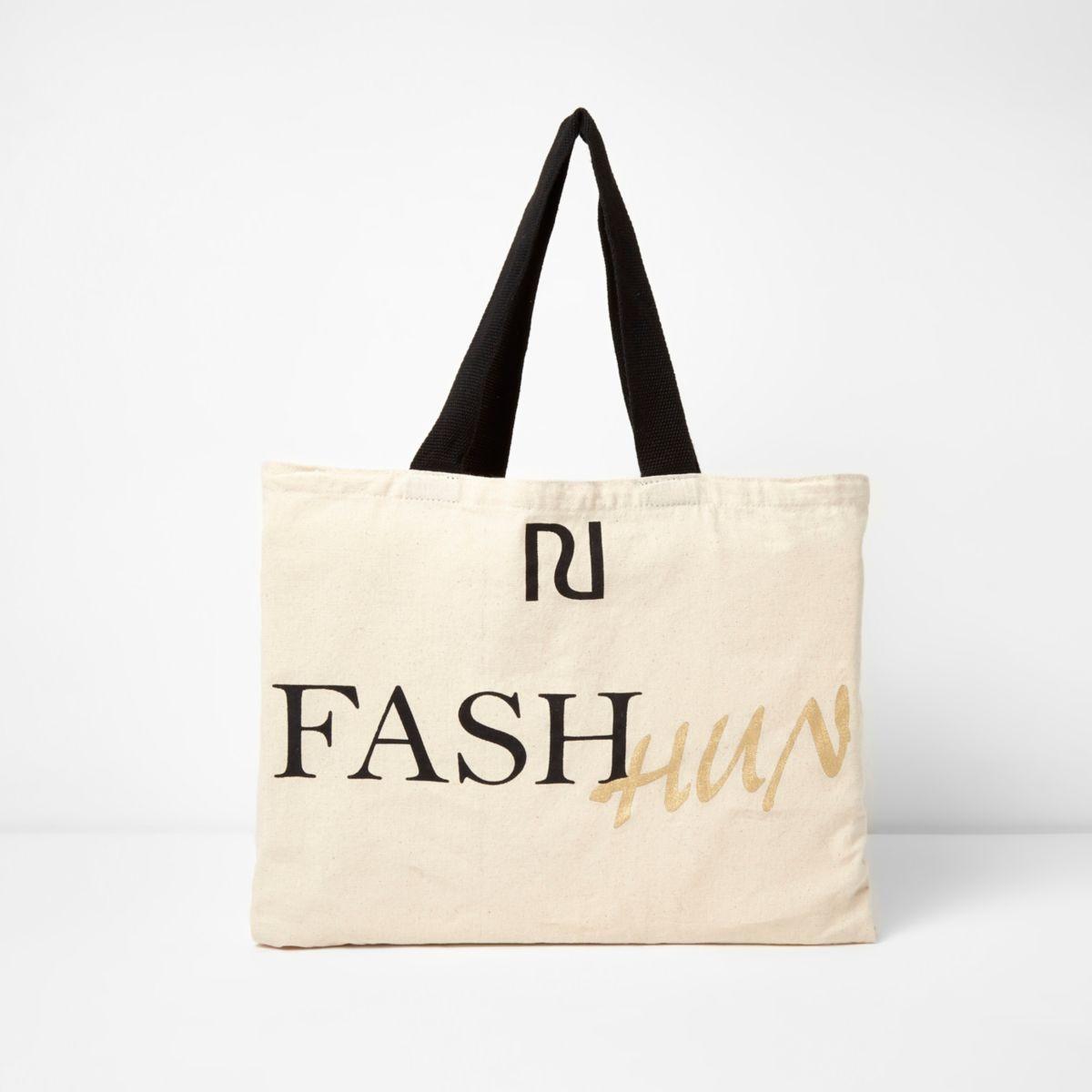 Beige 'fash hun' print shopper tote bag