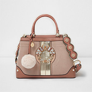 Light pink jewel front tote bag
