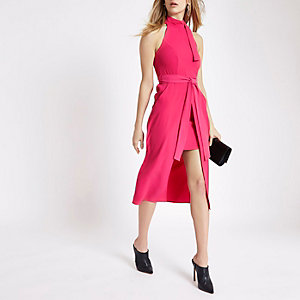 Bright pink tie neck sleeveless midi dress