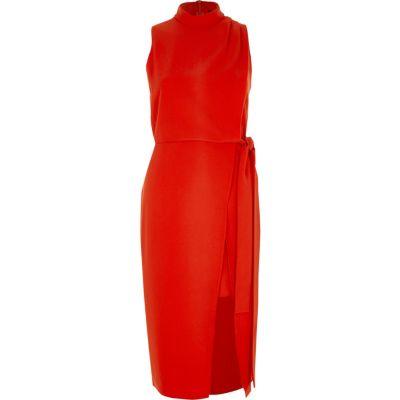 River Island Rode hoogsluitende mouwloze midi-jurk met overslag