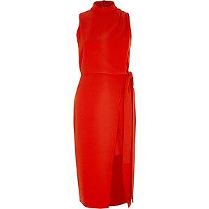 Red high neck sleeveless wrap midi dress