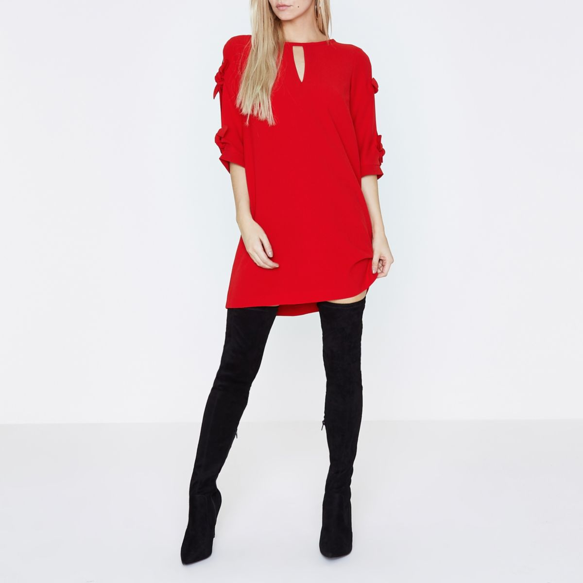 Petite red bow tie sleeve shift dress