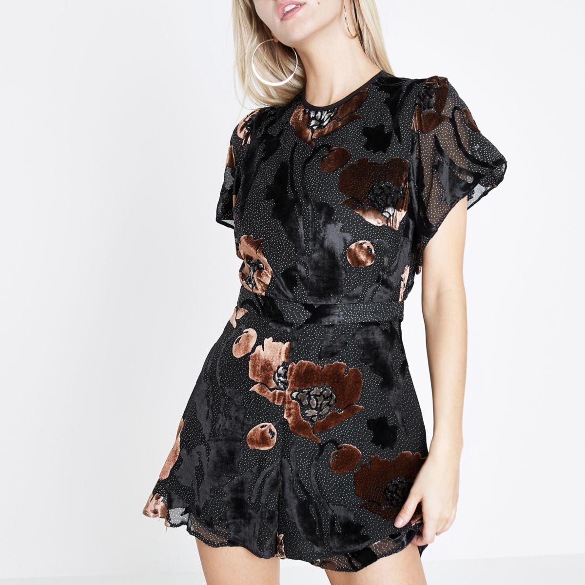Petite black floral devore playsuit