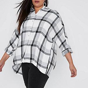 Plus – Chemise à carreaux grise croisée dans le dos