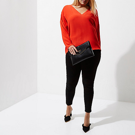 Plus red lace-up back long sleeve top