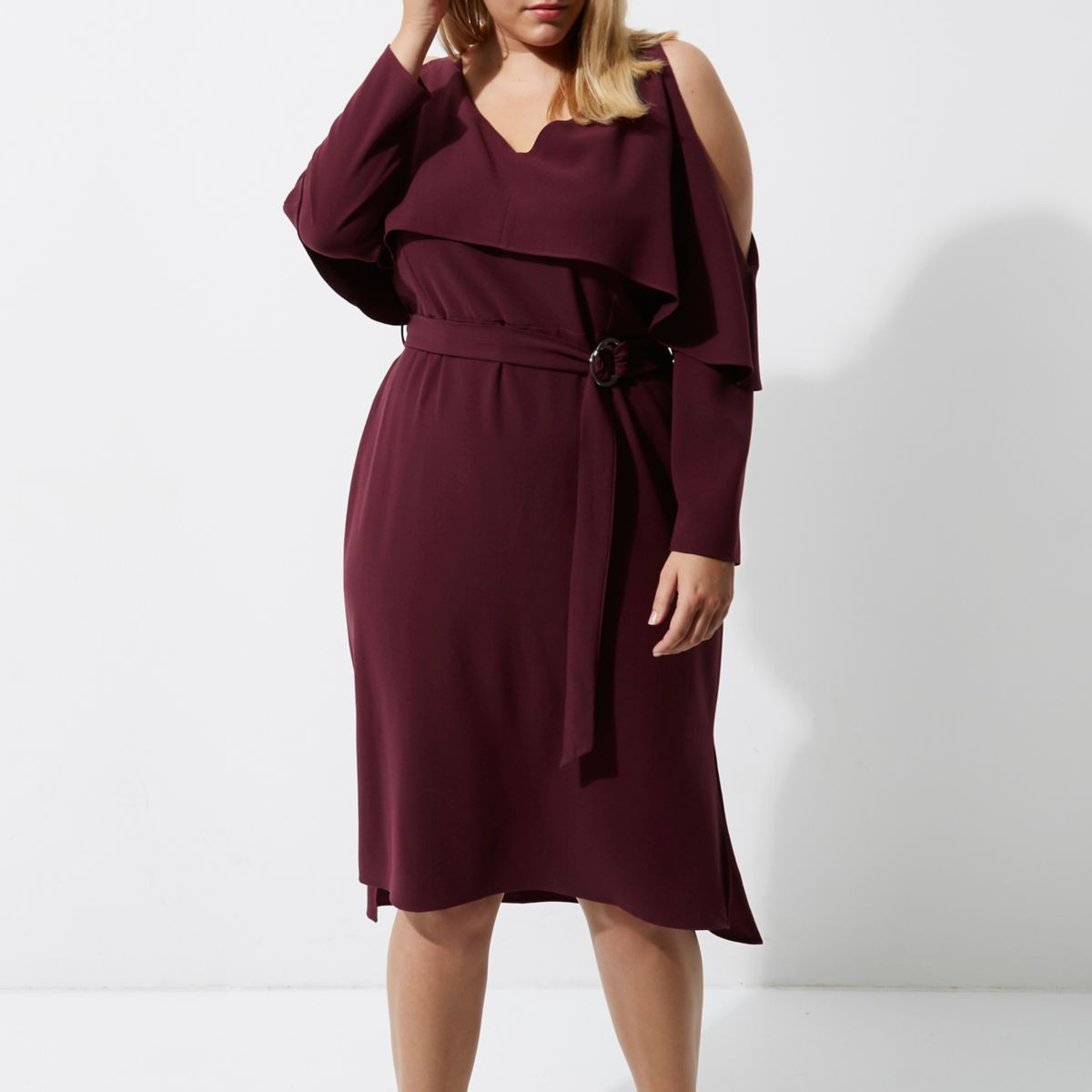Plus dark red cold shoulder belted midi dress