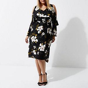 RI Plus - Zwarte gebloemde midi-jurk met D-gesp en ceintuur