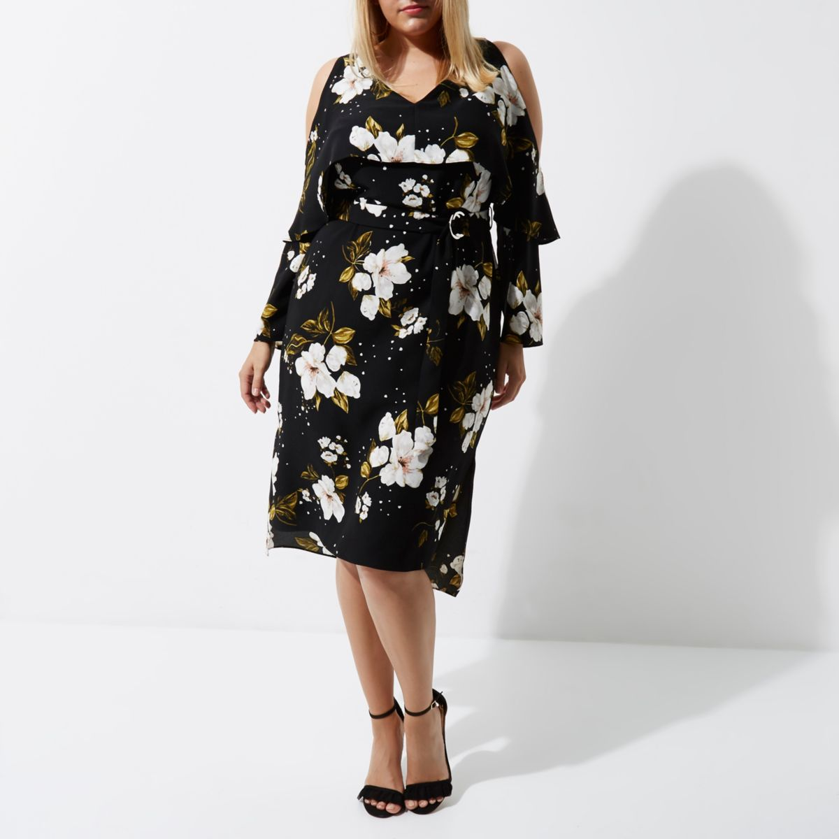 Plus black floral D-ring belted midi dress