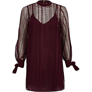 Dark red lace high neck swing dress