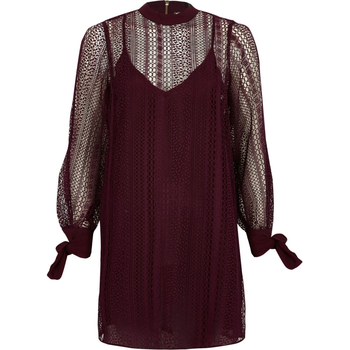 Dark red lace high neck swing dress