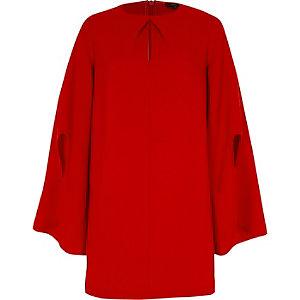 Red long flare sleeve swing dress