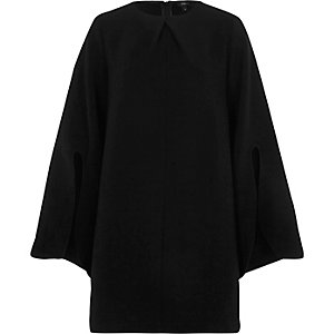 Black long split sleeve swing dress