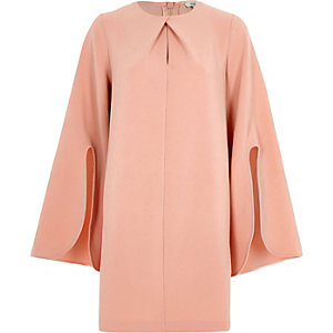 Light pink long split sleeve swing dress