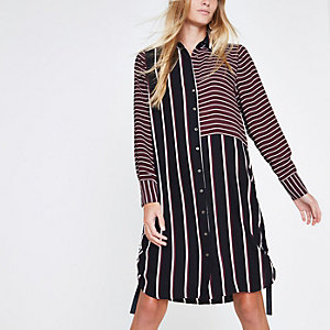 Burgundy mixed stripe ruched side shirt dress