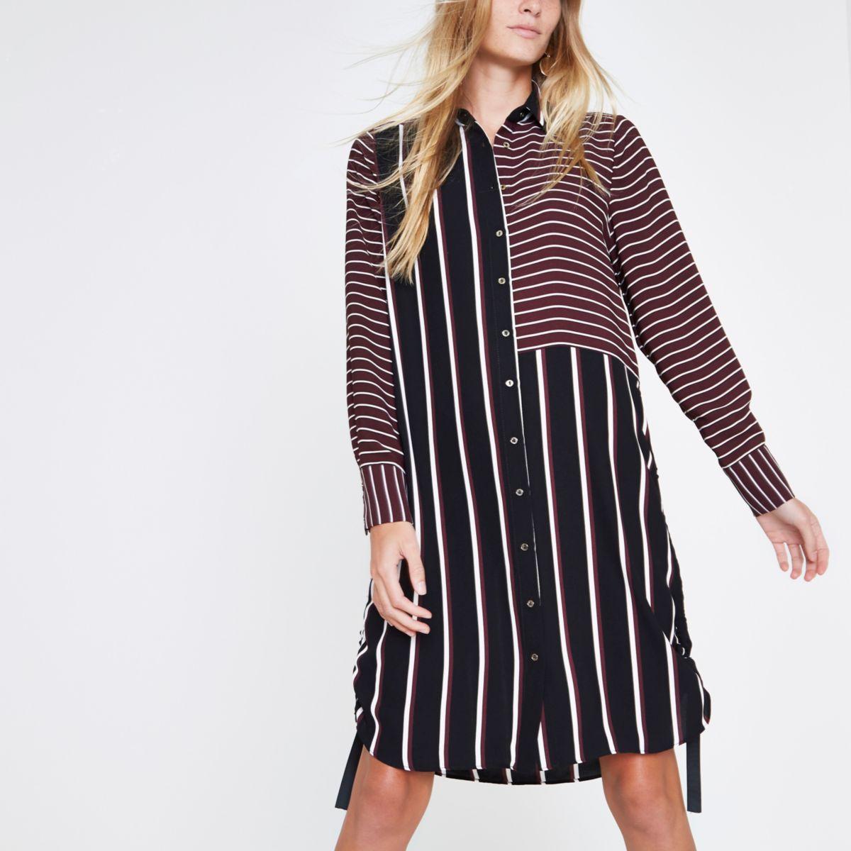 Burgundy mixed stripe ruched side shirt dress