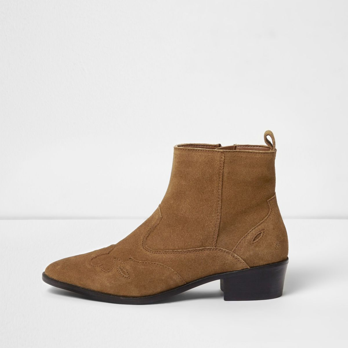 Tan suede western ankle boots