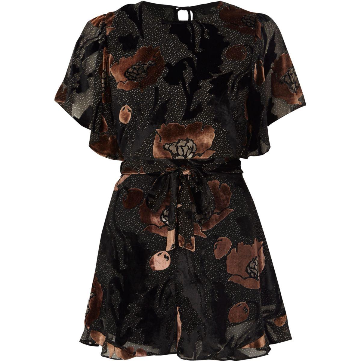 Black floral devore tie waist frill playsuit
