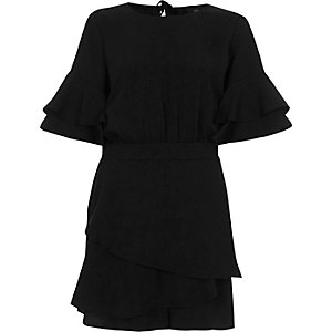 Black frill short sleeve layered hem playsuit