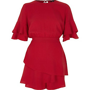 Red frill short sleeve layered hem romper