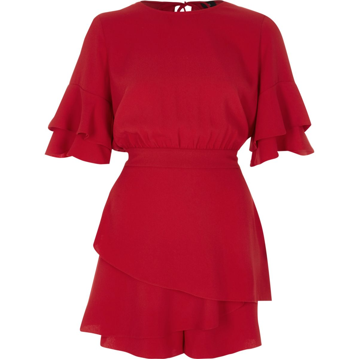 Red frill short sleeve layered hem playsuit