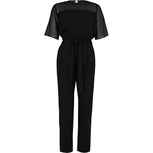 Black sheer insert short sleeve jumpsuit
