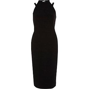 Schwarzes, hochgeschlossenes Bodycon-Kleid ohne Ärmel