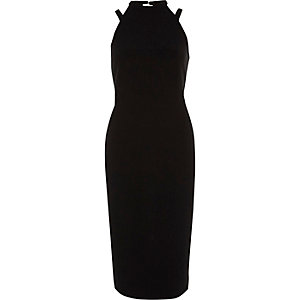Black sleeveless high neck bodycon dress