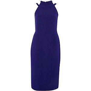 Bright blue bow back midi bodycon dress